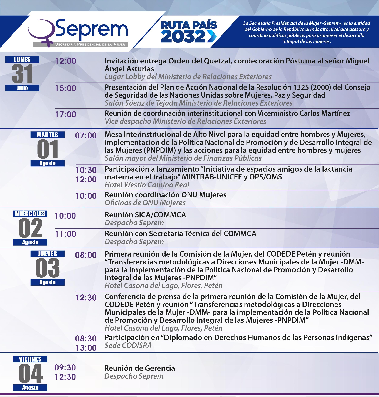 agenda de actividades 31 de julio al 04 de agosto