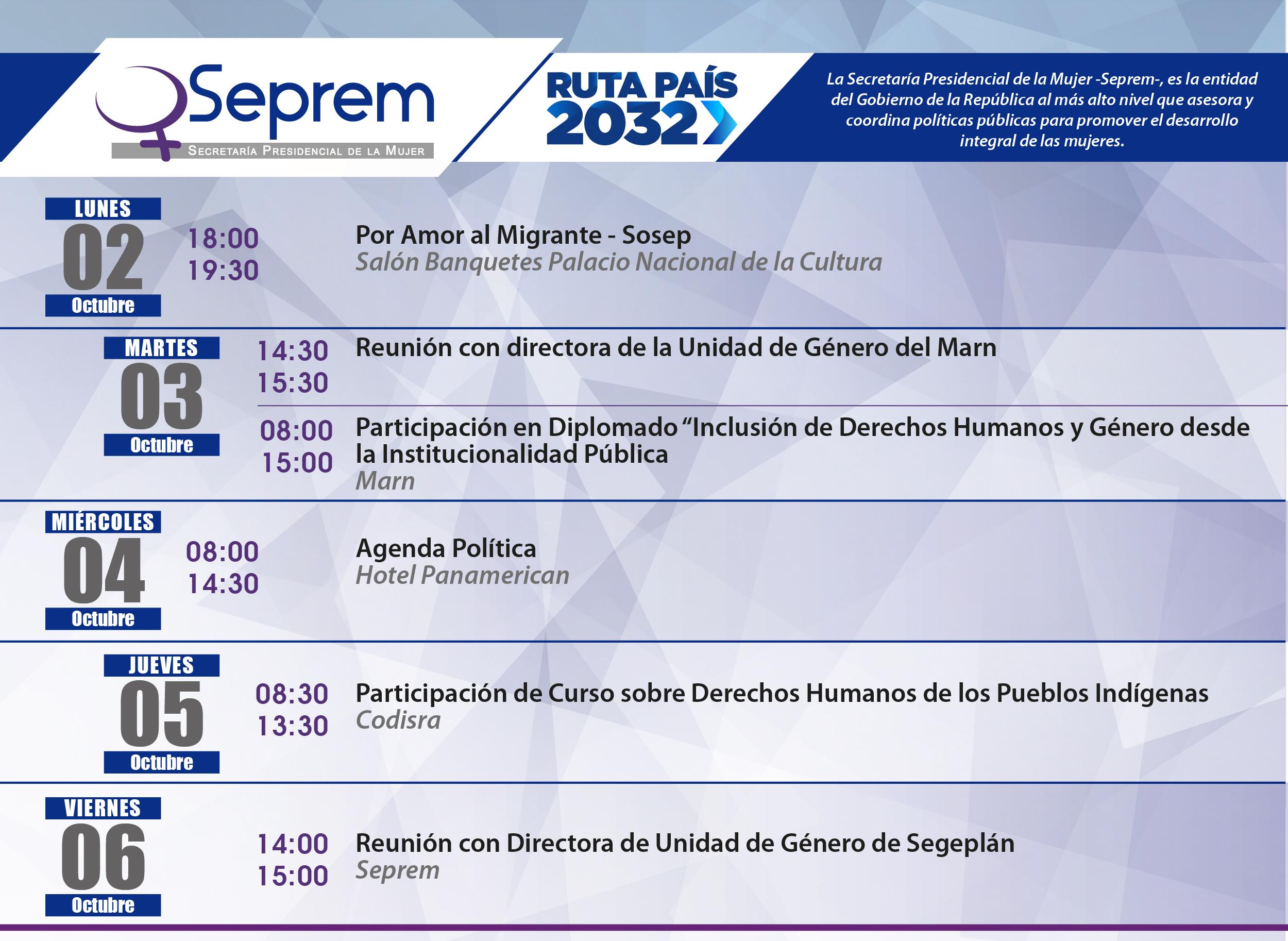 agenda de actividades 02 al 06 de Octubre